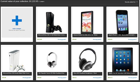 Vista previa de una lista de My Gadgets de eBay