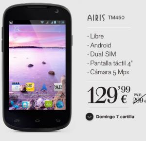 Características principales del Airis TM450 que ya está disponible en España, libre y por un precio a partir de los 129 euros, dependiendo del vendedor.