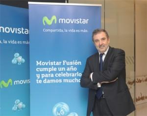 El presidente de Telefónica España, Luis Miguel Gilpérez, presentando las novedades