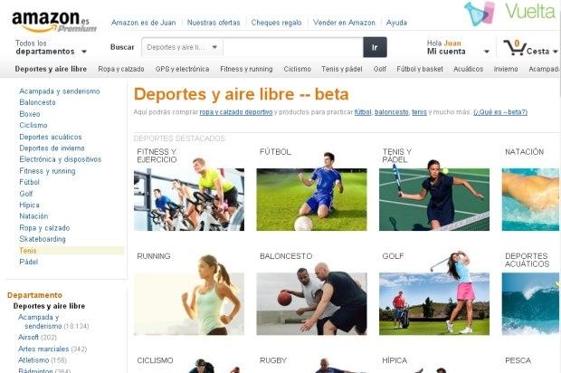 Imagen de la página web mediante la que Amazon vende productos deportivos y de actividades al aire libre.