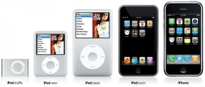 Variedad de iPods: Touch de gama alta y similar en aspecto al iPhone, Nano de gama media y el más pequeño, el iPod Shuffle.