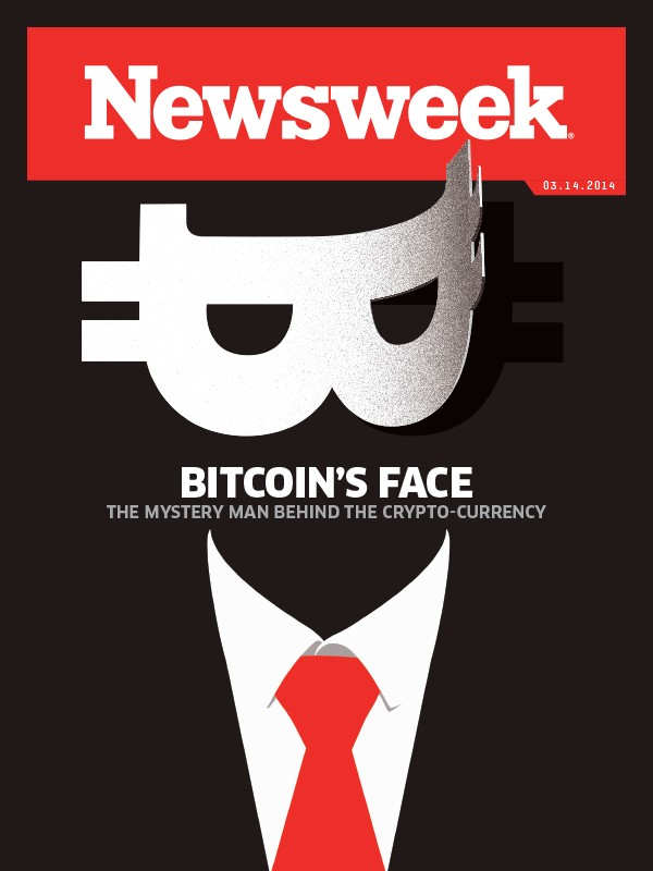 Portada de Newsweek donde se publica el reportaje sobre la vida del fundador de Bitcoin