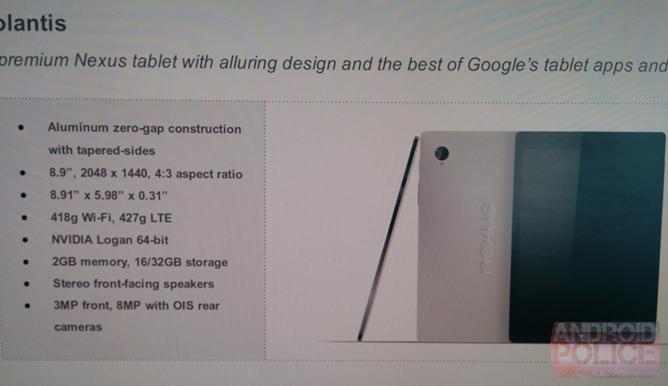 De acuerdo con Android Police, esta es la información filtrada sobre el próximo Nexus 9, para el que Google ha contado con HTC como socio fabricante.