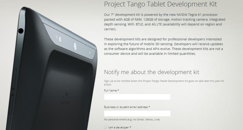 Anuncio de su tableta basada en el Proyecto Tango en el portal web oficial de Google