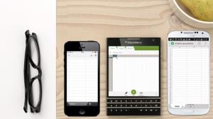 A través de esta foto, BlackBerry quiere mostrar, comparando su Passport con los nuevos iPhone, el tamaño del dispositivo.