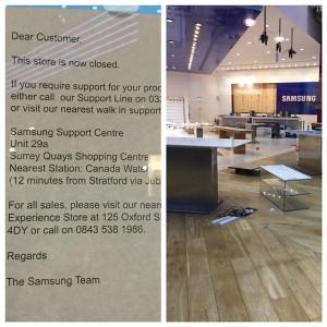 Foto publicada en Twitter sobre el cierre del Experience Store de Samsung