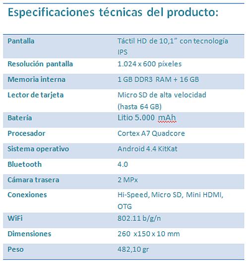 Especificaciones Woxter QX 105