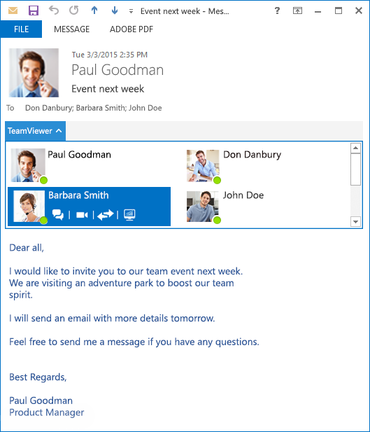 Outlook teamViewer