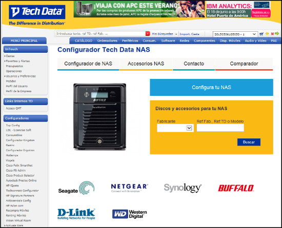 Tech Data configurador NAS