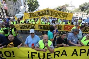 Protestas en Barcelona contra Uber