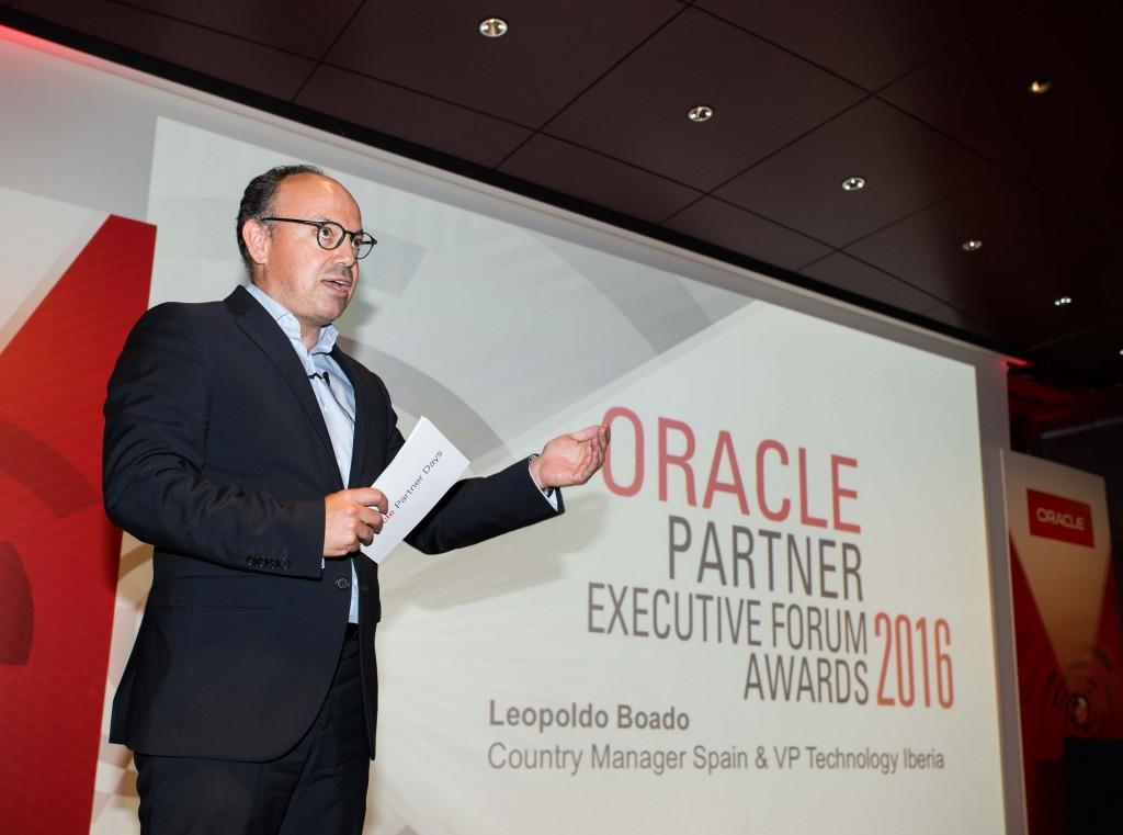 Leopoldo Boado, Country  Manager de Oracle España, durante la entrega de los premios al canal del fabricante