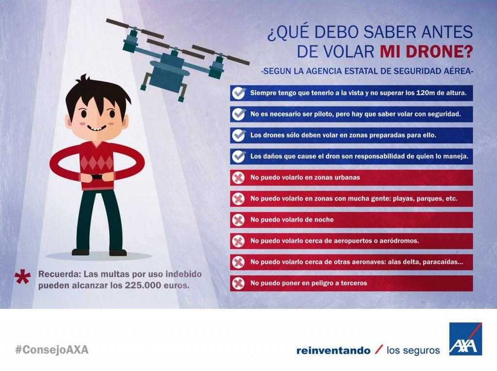 Consejos de Axa para volar un dron de forma segura y conforme a la legalidad.