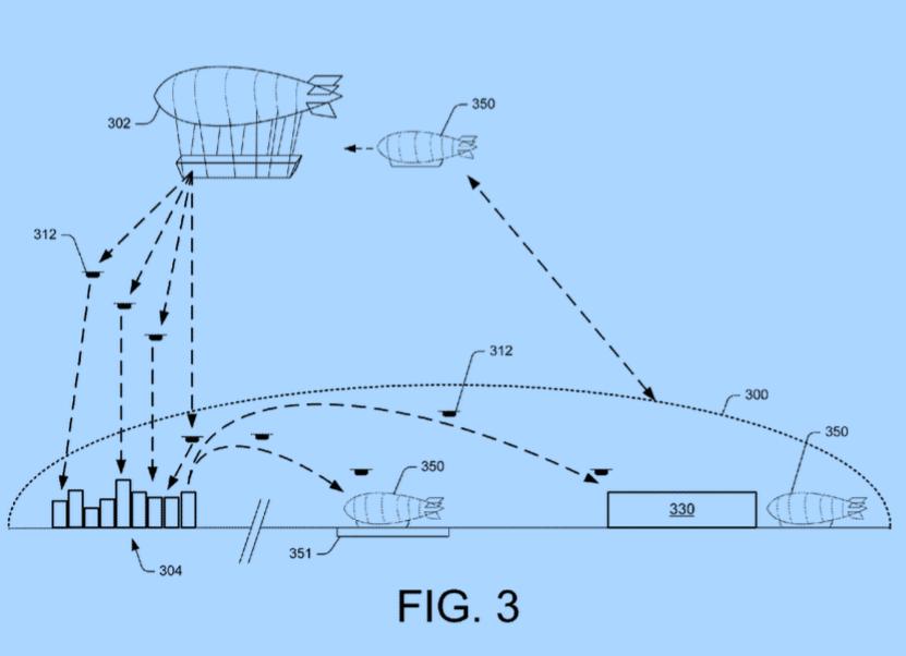 Imagen de la patente registrada por Amazon, que ha circulado por Internet y que muestra cómo podrían ser los envíos.